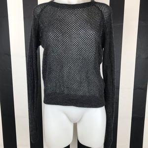 Theory Dark Grey Perforated Silk Cashmere Sweater